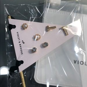 """Violet and Brooks Jewelry - """"T"""" Violet and Brooks Personalized Earrings Set"""